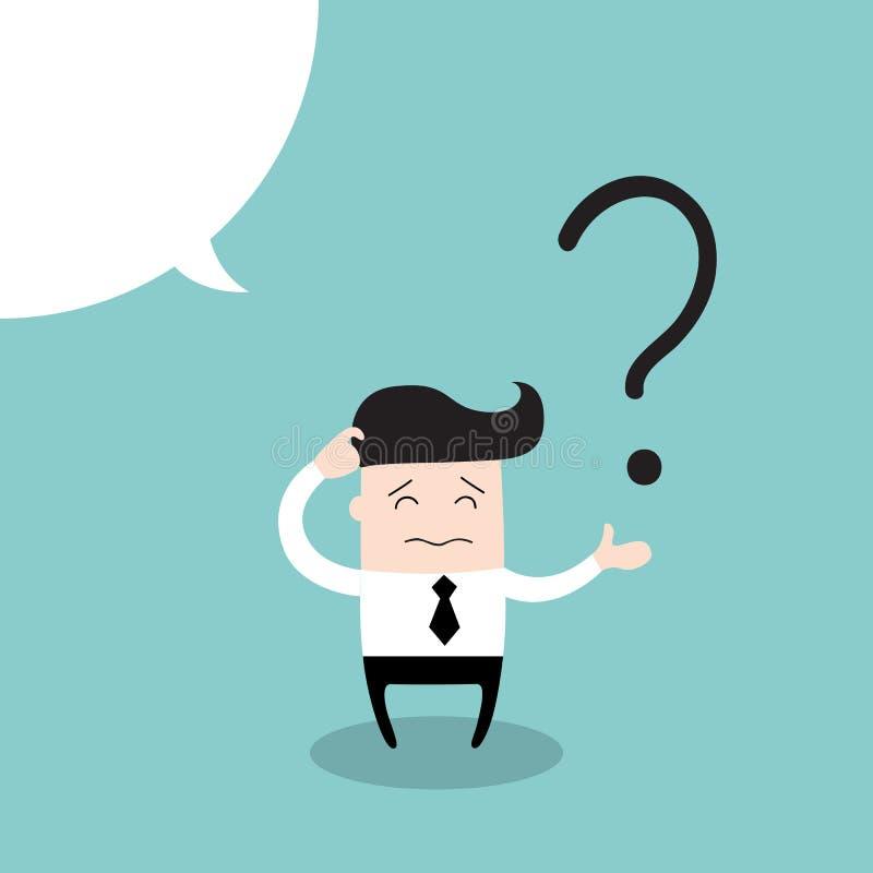 O homem de negócio risca sua cabeça na indecisão em um ponto de interrogação ilustração stock