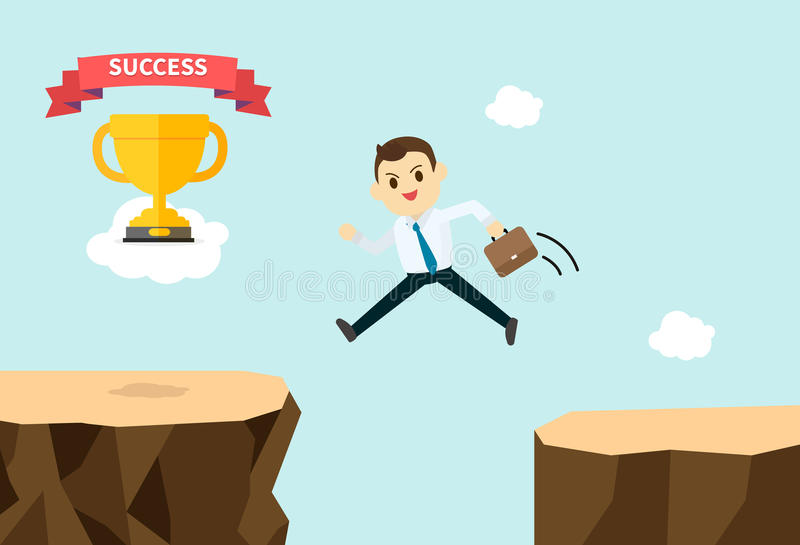 O homem de negócio salta e cruza montanhas para obter o troféu ilustração stock