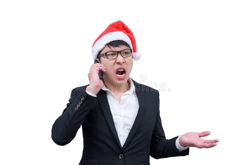 O homem de negócio tem a fala e gritar com festival t do Natal fotos de stock