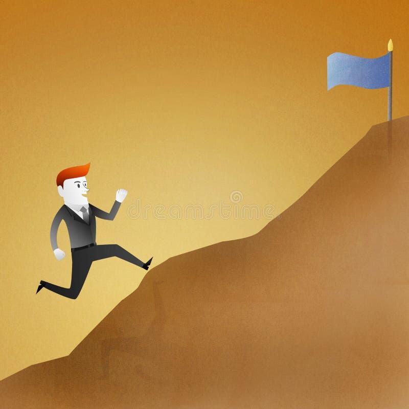 O homem de negócio vai funcionar acima a montanha representa ilustração royalty free