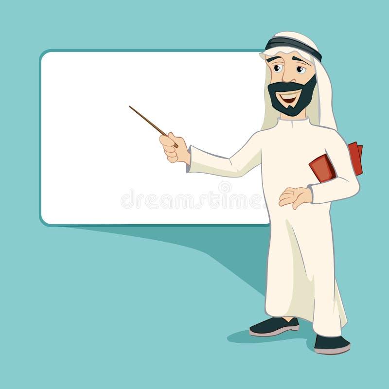 O homem de negócios árabe está na placa branca vazia ilustração royalty free