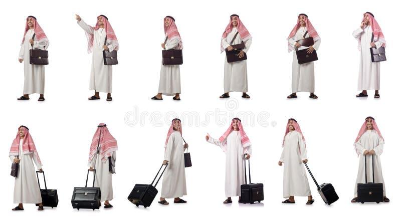 O homem de negócios árabe isolado no branco foto de stock royalty free