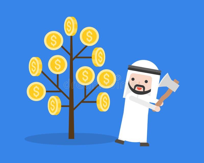 O homem de negócios árabe prepara-se para cortar uma árvore do dinheiro com machado ilustração stock
