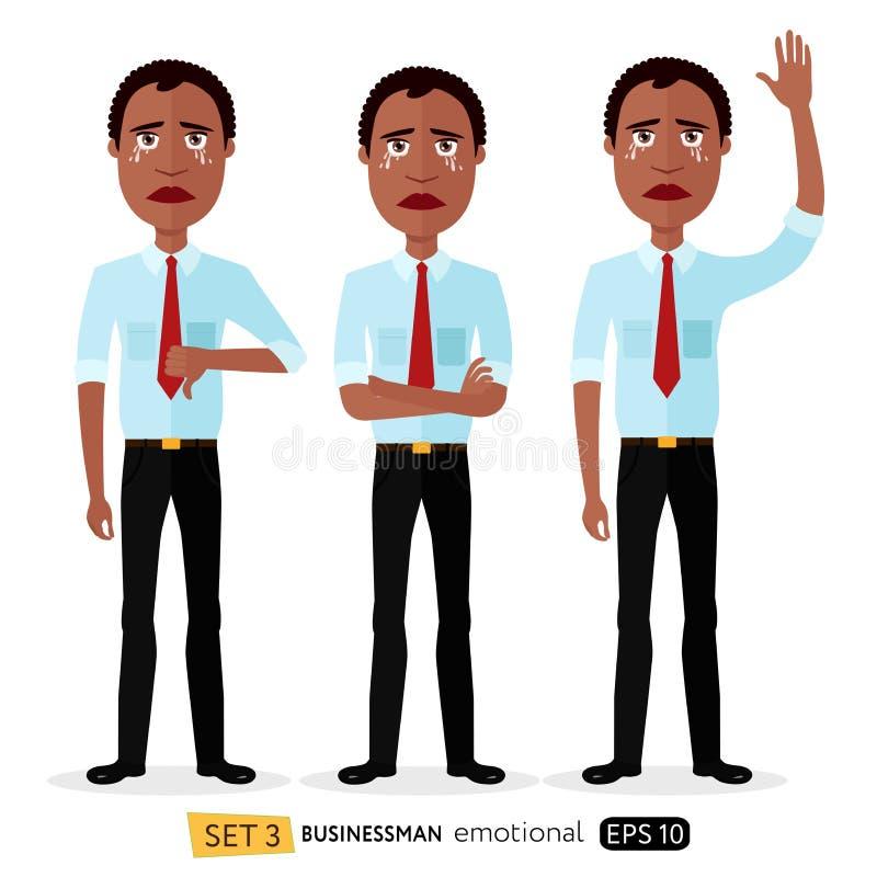 O homem de negócios é os desenhos animados de grito tristes s da ilustração do vetor do conceito ilustração royalty free