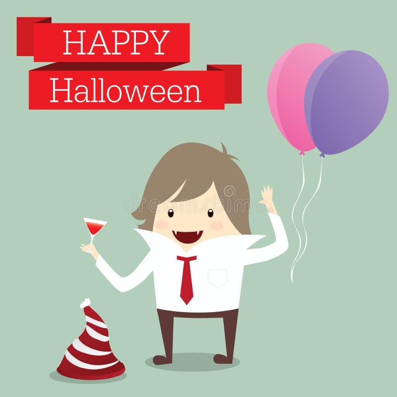 O homem de negócios é senhor do evento feliz r do partido do dia do Dia das Bruxas do vampiro ilustração royalty free