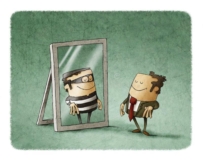 O homem de negócios é um ladrão em um espelho ilustração stock