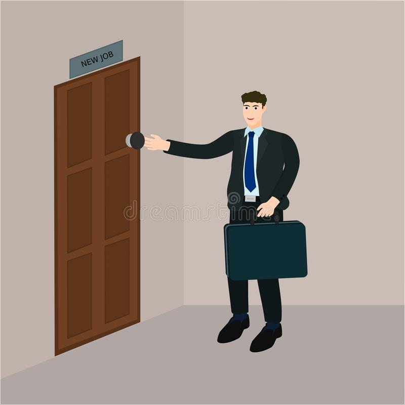 O homem de negócios abre a porta para o trabalho novo do começo ilustração stock