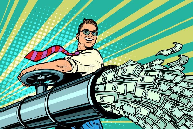O homem de negócios abre a tubulação, dólares da finança do dinheiro flui ilustração stock