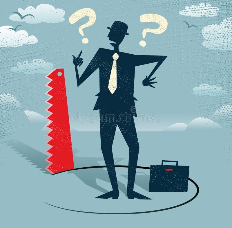 O homem de negócios abstrato moeu o corte abaixo dele. ilustração royalty free