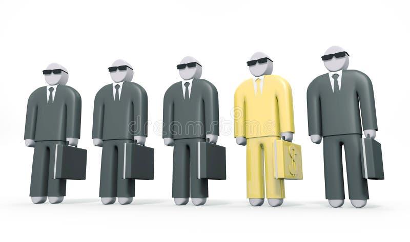O homem de negócios abstrato que veste o terno dourado está entre outros homens ilustração stock
