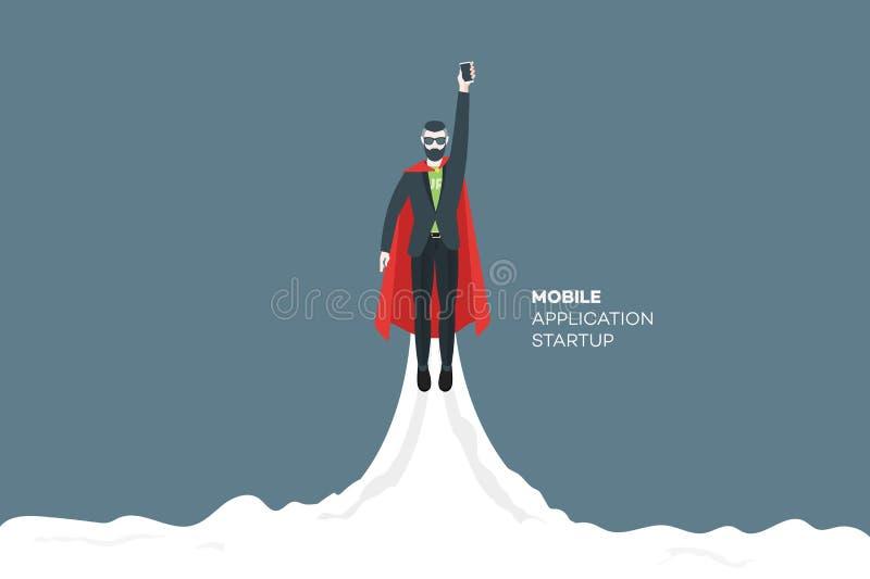 O homem de negócios abstrato voa ascendente como um foguete ilustração royalty free