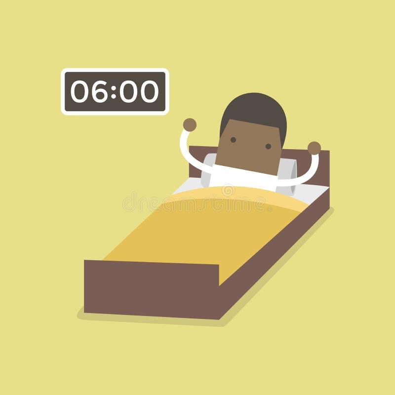 O homem de negócios africano acorda cedo ilustração stock