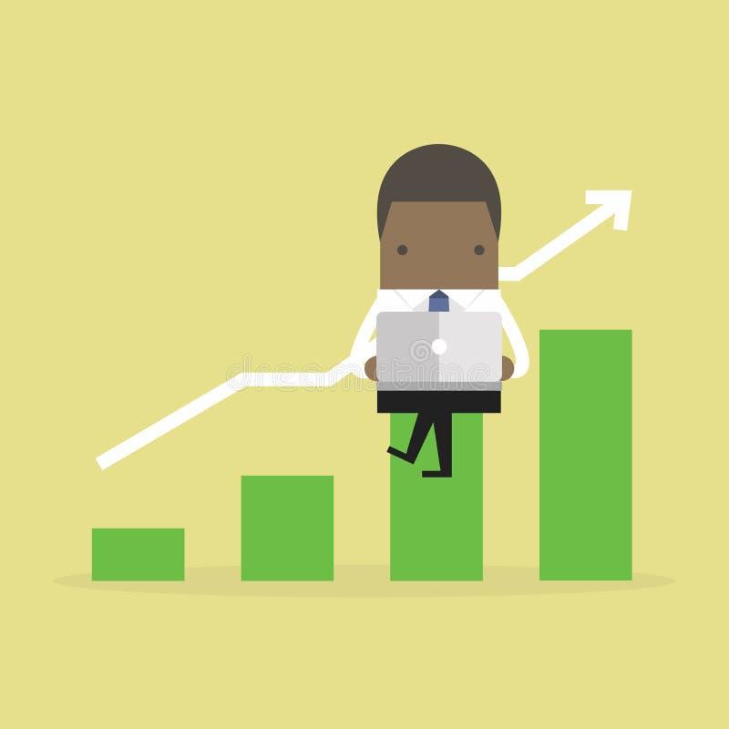 O homem de negócios africano acorda cedo Homem de negócios africano com gráfico crescente do caderno e da verificação ilustração stock