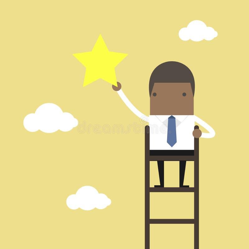 O homem de negócios africano em uma garra da escada protagoniza no céu ilustração stock