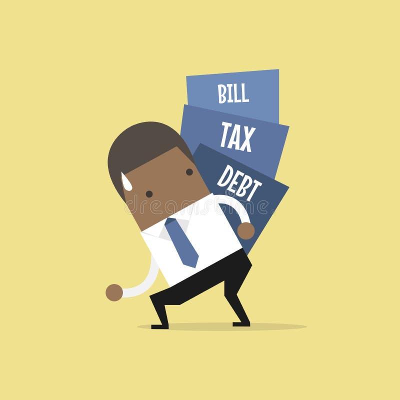 O homem de negócios africano leva a pilha do débito, do imposto e da conta ilustração royalty free