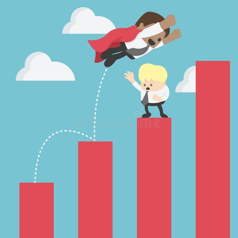 O homem de negócios africano salta sobre os gráficos crescentes adiante para o sucesso ilustração stock