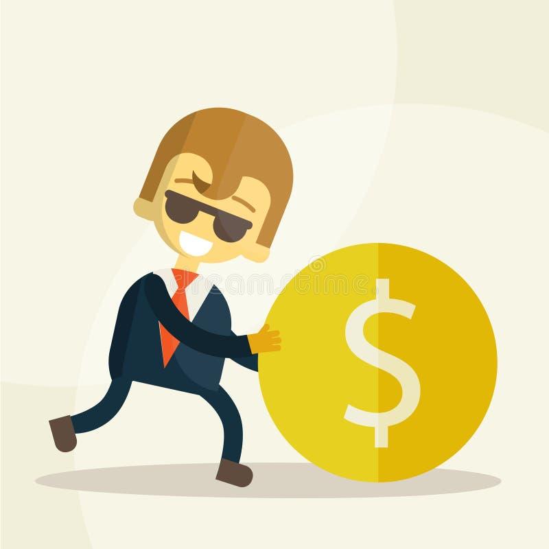 O homem de negócios alegre rola a moeda ilustração royalty free