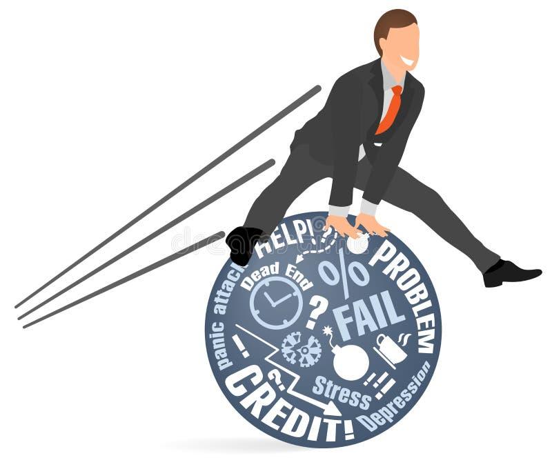 O homem de negócios alegre salta sobre seus problemas e medos Conceito do equilíbrio emocional mental, acalmando-se para baixo, ilustração do vetor