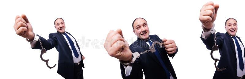 O homem de negócios algemado isolado no branco fotos de stock royalty free