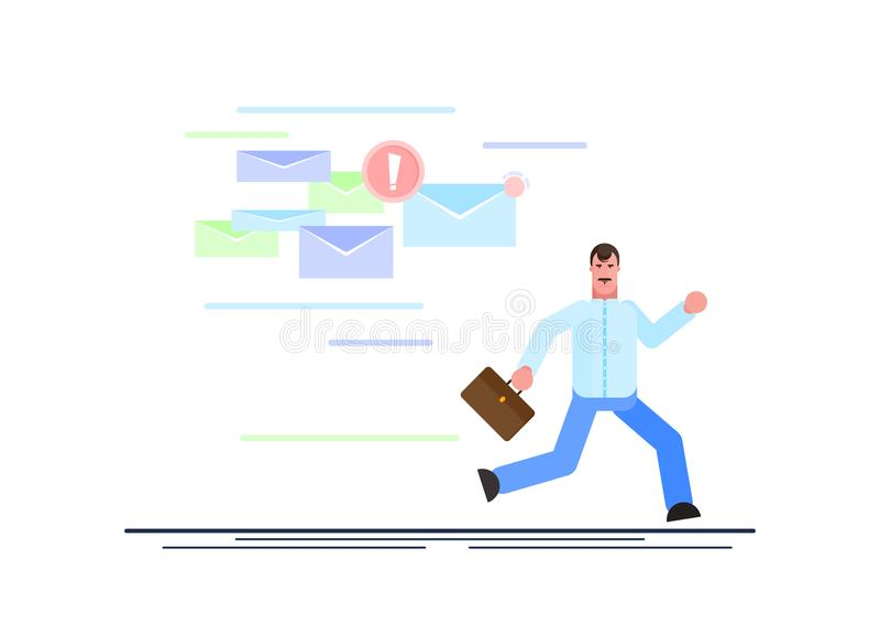 O homem de negócios amedrontado está correndo longe dos e-mail de uma abundância que perseguem o Gest?o eficaz ilustra??o do veto ilustração do vetor