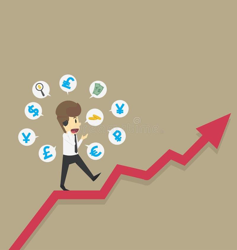 O homem de negócios anda em gráficos, moeda s do investimento do crescimento da renda ilustração royalty free