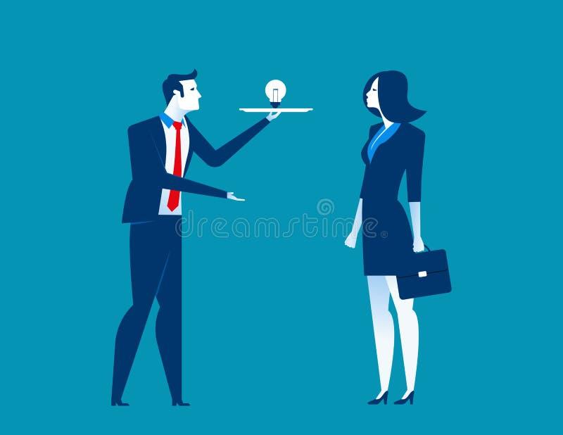 O homem de negócios apresenta ideias ilustração do vetor