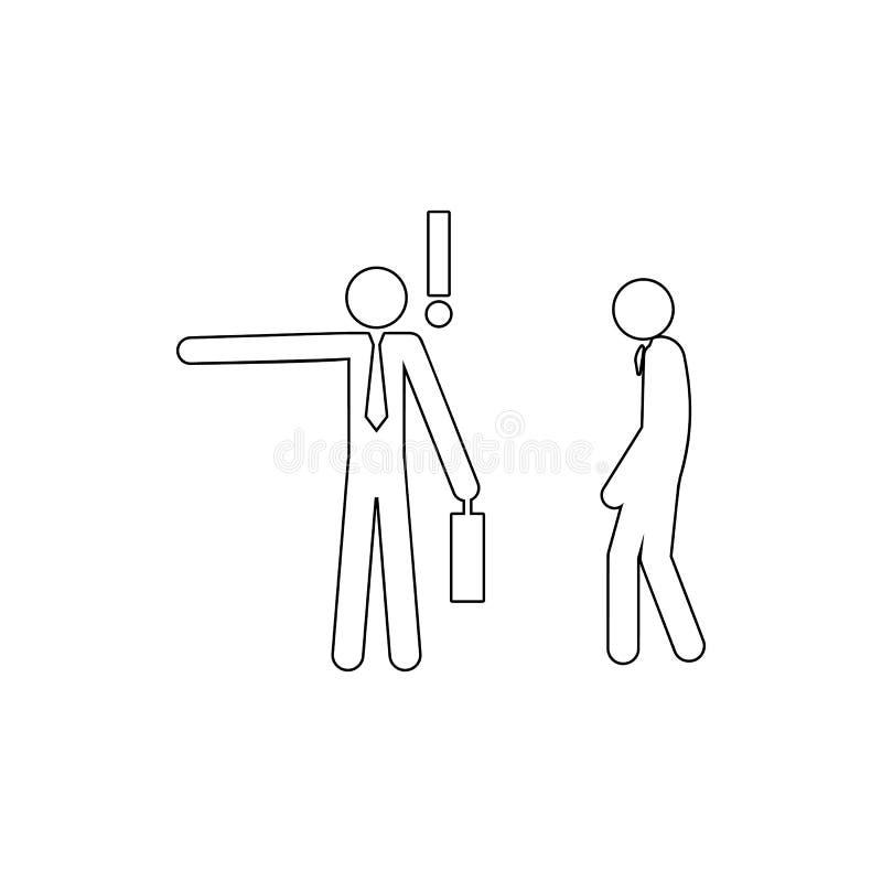 o homem de negócios ateia fogo ao ícone do empregado Elemento do conflito para o conceito e o ícone móveis dos apps da Web Linha  ilustração stock