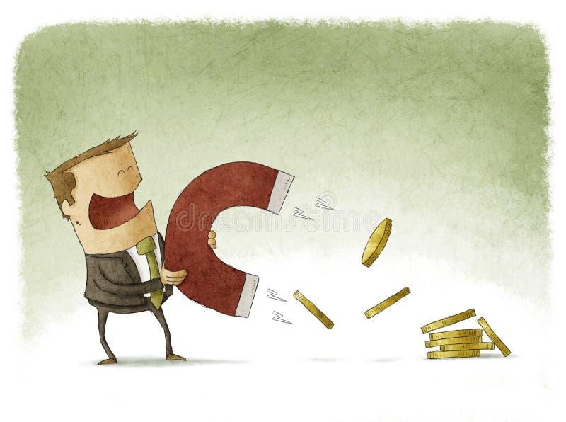 O homem de negócios atrai o dinheiro ilustração do vetor