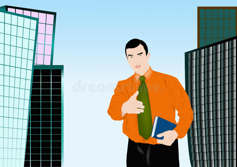 O homem de negócios bem sucedido ilustração stock