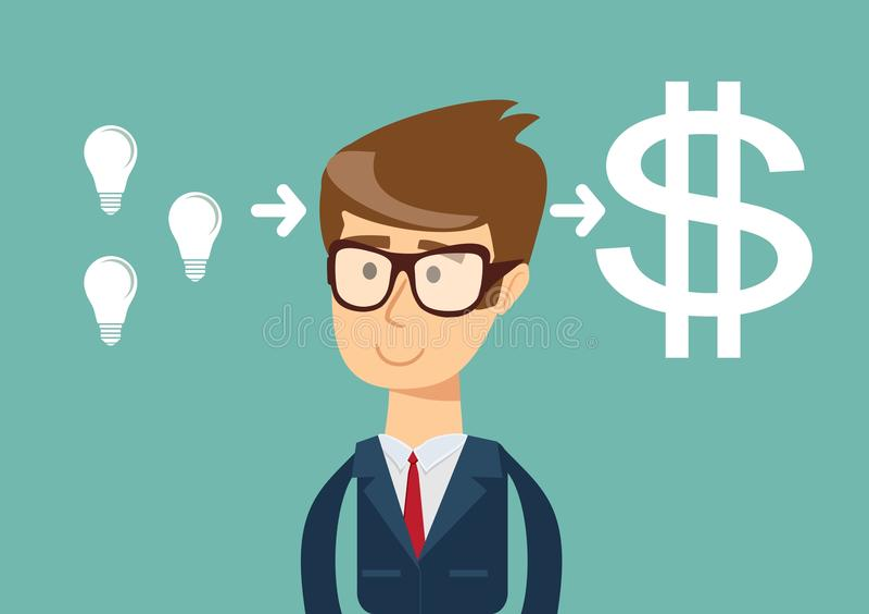 O homem de negócios bem sucedido com bulbo da ideia obtém muito dinheiro Conceito da faculdade criadora do negócio ilustração royalty free