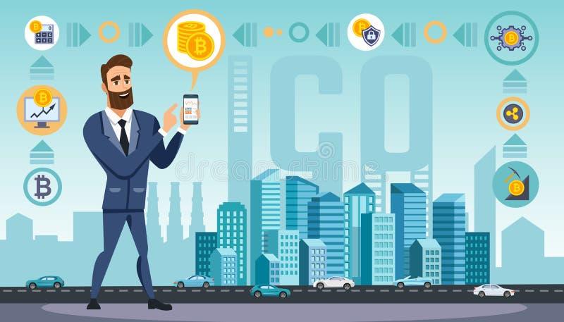 O homem de negócios bem sucedido com smartphone usa tecnologias criptos da moeda ilustração royalty free