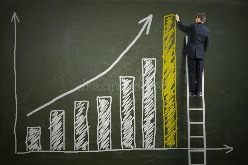 O homem de negócios bem sucedido está estando na escada e no gráfico crescente de tiragem do lucro foto de stock royalty free
