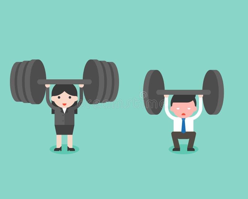 O homem de negócios bonito e a mulher de negócios tentam levantar o peso, e a mulher ilustração stock