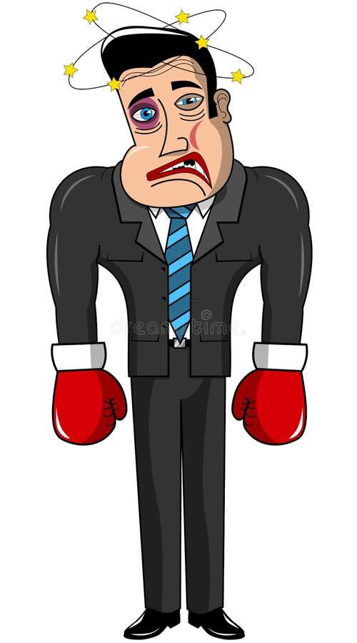 O homem de negócios Boxer Injured Loser isolou-se ilustração do vetor