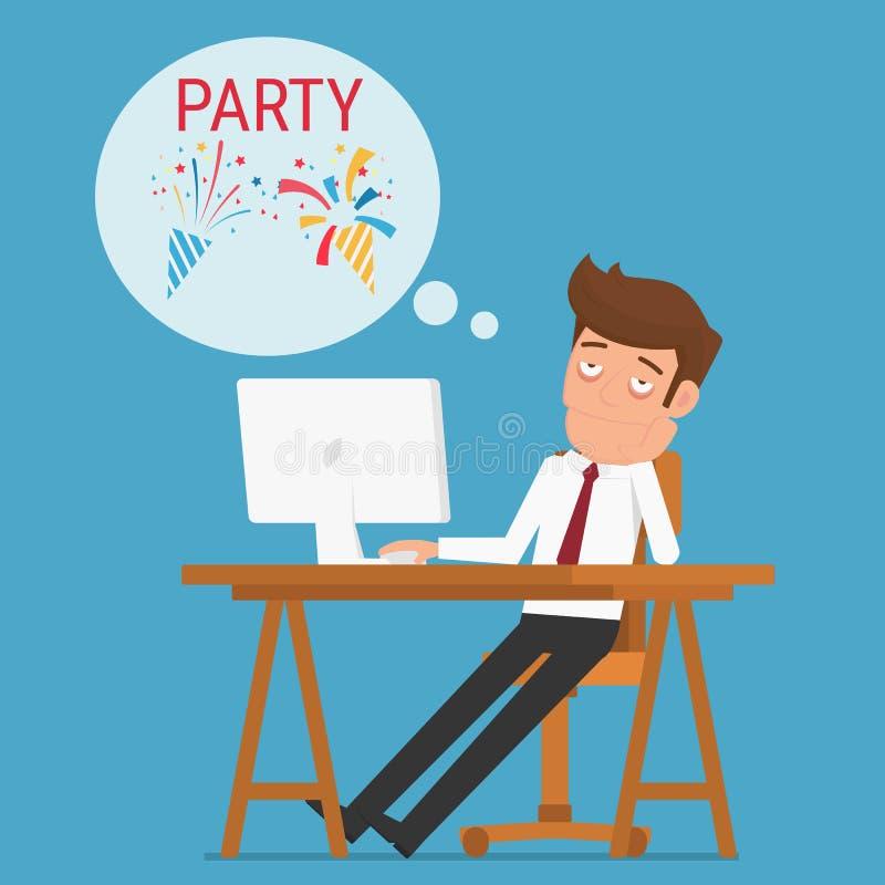 O homem de negócios cansado que pensa aproximadamente relaxa e party ilustração royalty free