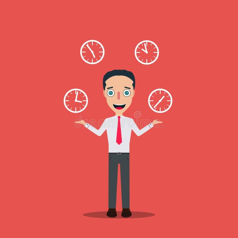 O homem de negócios Cartoon Character Icon isolou o temporizador do pulso de disparo da ilustração quatro do vetor do molde do pr ilustração royalty free