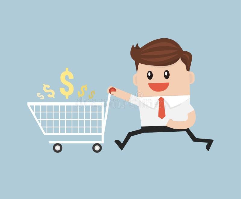 O homem de negócios com carrinho de compras vazio, apronta-se comprando ilustração do vetor