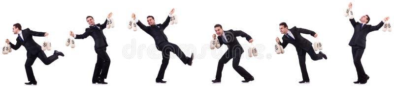 O homem de negócios com os sacos do dinheiro isolados no branco ilustração royalty free