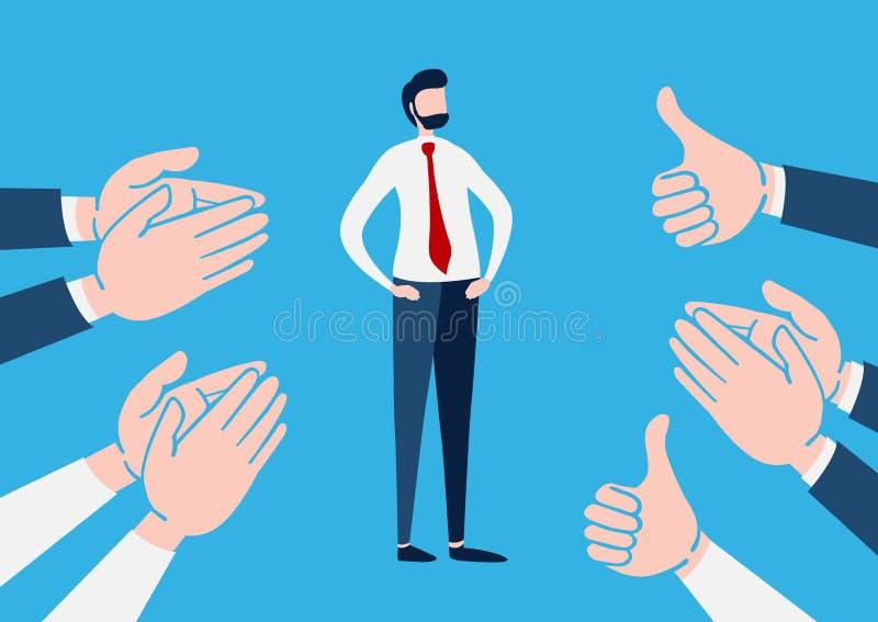O homem de negócios com ovação e batidas do aplauso de muitas mãos acima, aplaude as mãos personagem de banda desenhada liso Ilus ilustração do vetor