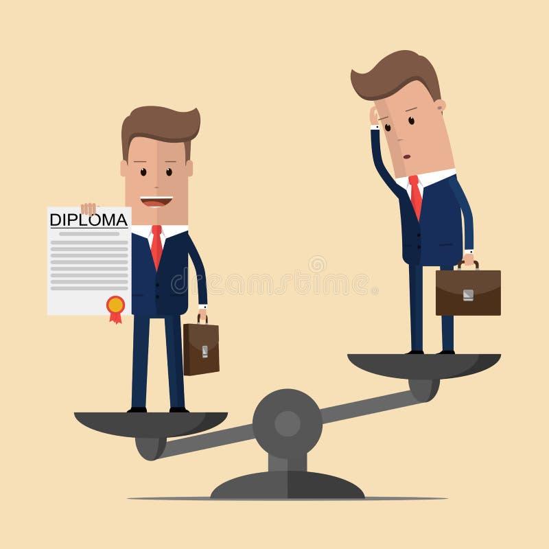 O homem de negócios com um diploma aumenta um homem de negócios sem um diploma O conceito da excelência Ilustração do vetor ilustração stock