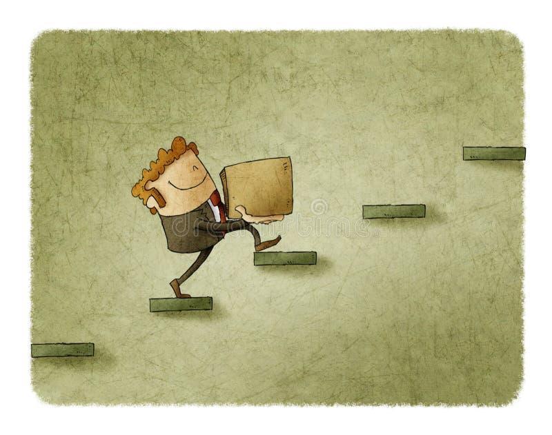 O homem de negócios com uma caixa está escalando algumas etapas conceito da elevação ao sucesso ilustração royalty free