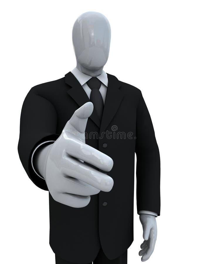 O homem de negócios combinou uma pistola dos dedos fotografia de stock royalty free