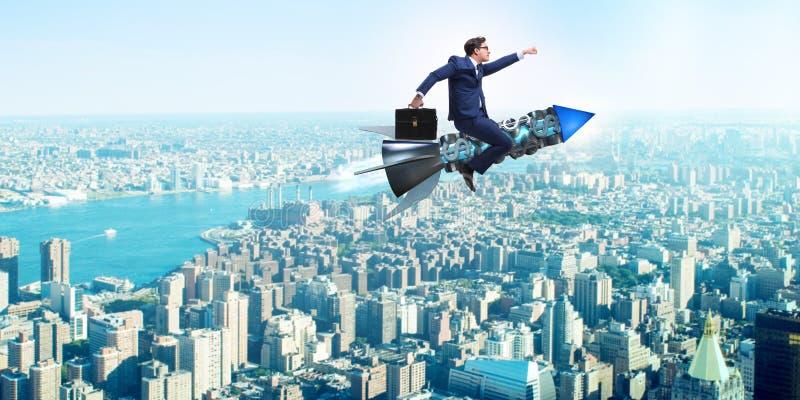 O homem de negócios começa dentro acima o conceito do negócio imagens de stock royalty free