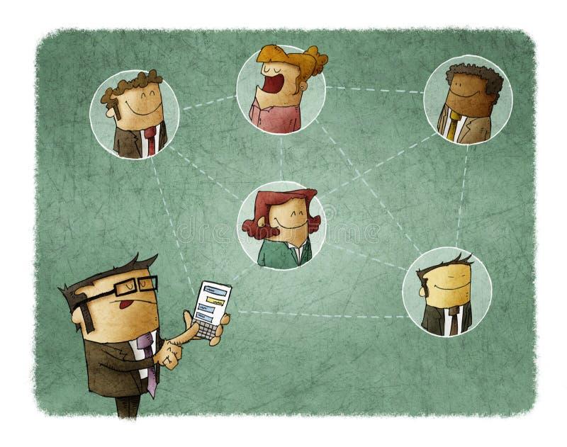 O homem de negócios conecta com outros povos através de seu smartphone Conceito da coligação ilustração do vetor