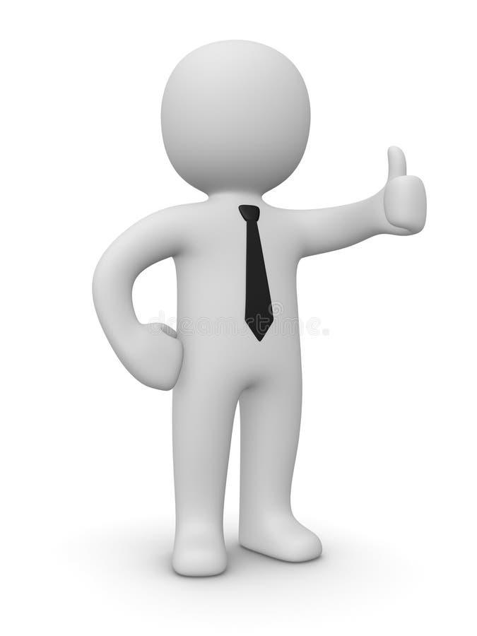 O homem de negócios confiável que mostra os polegares levanta o sinal ilustração do vetor