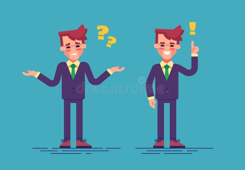 O homem de negócios considerável novo tem um desafio e encontra uma solução Conceito do negócio Estilo liso da ilustração do veto ilustração royalty free