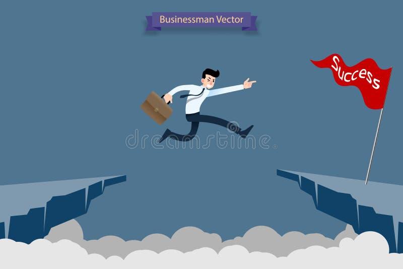 O homem de negócios corajoso sem medo faz o risco pelo salto sobre a ravina, penhasco, falha alcançar seu desafio do alvo do suce ilustração do vetor
