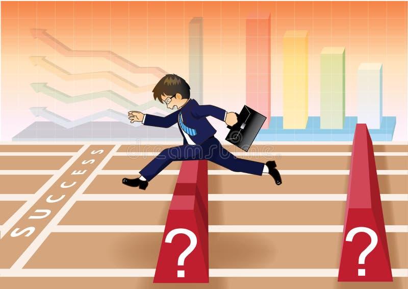 O homem de negócios corre e salta sobre obstáculos à linha do sucesso ilustração royalty free