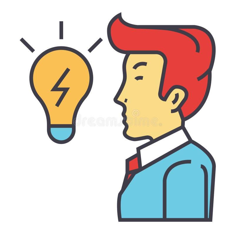 O homem de negócios criativo, grande ideia do negócio está no formulário de uma ampola, conceito do clique ilustração stock