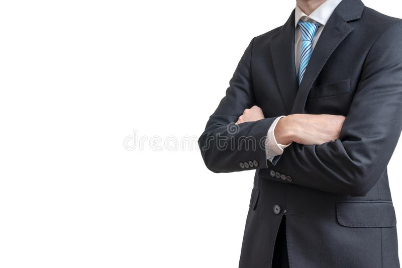 O homem de negócios cruzou os braços Isolado no fundo branco foto de stock royalty free